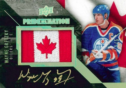 2015-16 UD Black Hockey Pride of a Nation Manufactured Flag Autographs Greztky