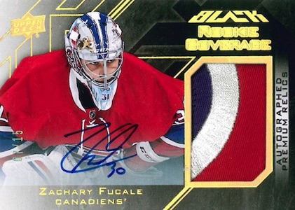 2015-16 UD Black Hockey Rookie Coverage Autograph Relics