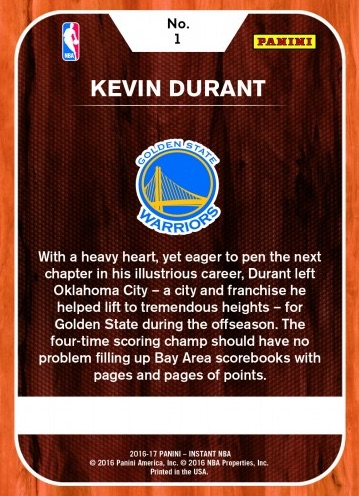 2016-17 Panini Instant NBA Basketball Kevin Durant Golden State Warriors 1 back