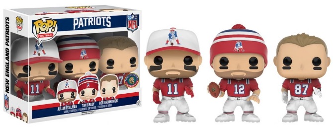 2016 Funko Pop NFL Series 3 Throwback 3-Pack- Julian Edelman, Tom Brady, Rob Gronkowski