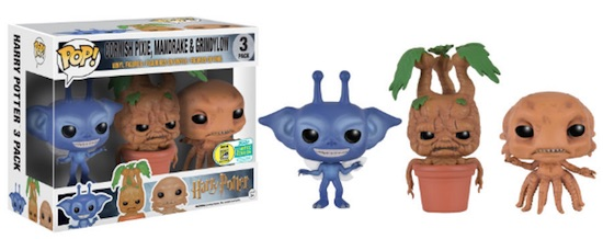 2016 Funko San Diego Comic-Con Exclusives Pop Fantastic Beasts Creatures 3-Pack- Cornish Pixie, Mandrake, Grindylow