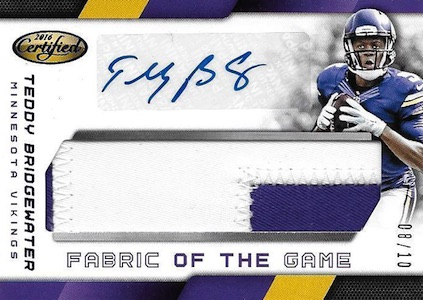 2016 Panini Certified Football Fabric of the Game Signatures