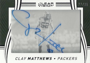 2016 Panini Clear Vision Football Clear Vision Signatures Clay Matthews