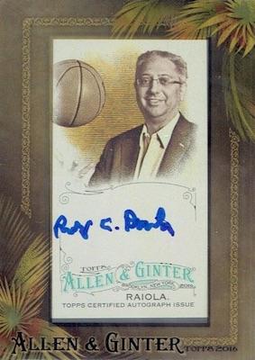 2016 Topps Allen & Ginter Non-Baseball Autographs Robert Raiola