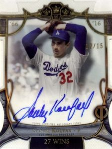2016 Topps Tribute Baseball Triple Crown Memories Autographs Sandy Koufax
