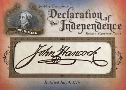 2016 Upper Deck Goodwin Champions Declaration of Independence Replica Signature Relics
