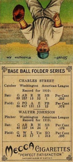 1911 T201 Mecca Double Folders Walter Johnson, Charles Street Reverse
