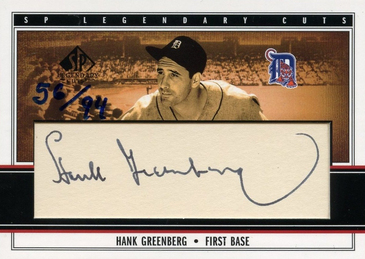 2002 SP Legendary Cuts Hank Greenberg Cut Autograph