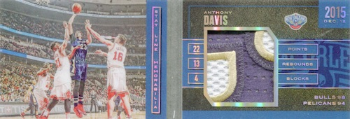 2015-16 Panini Preferred Basketball Stat Line Patch Book Anthony Davis