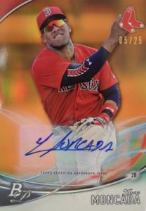 2016 Bowman Platinum Baseball Orange Autographs Yoan Moncada