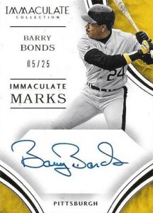 2016 Panini Immaculate Baseball Marks Barry Bonds