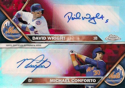 2016 Topps Chrome Baseball Dual Autographs Conforto Wright Mets