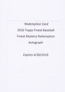 2016 Topps Finest Baseball Mystery Redemption