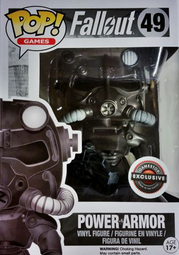 Funko Pop Fallout 49 Power Armor Black and White GameStop