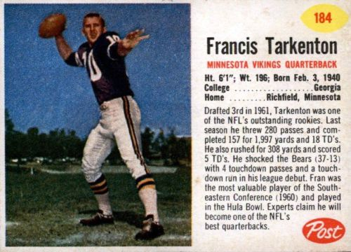 1962 Post Fran Tarkenton Rookie Card