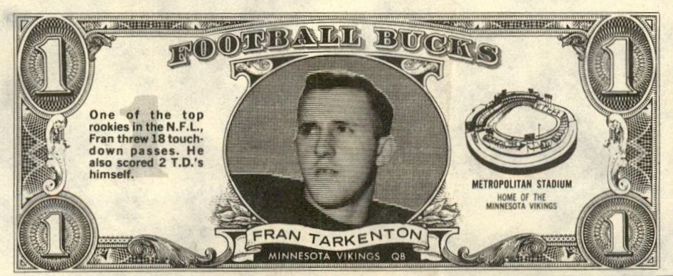 Top 10 Fran Tarkenton Football Cards 8