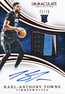2015-16 Panini Immaculate Basketball Rookie Patch Autographs Red Karl-Anthony Towns RC