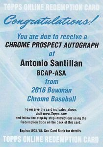 2016 Bowman Chrome Baseball Prospect Autographs Antonio Tony Santillan