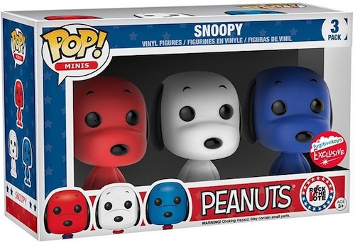 2016 Funko New York Comic Con Exclusives Pop Rock the Vote Peanuts 3-Pack- Snoopy (Red:White:Blue) Fugitive Toys