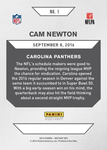 2016 Panini Instant NFL Football 1 Cam Newton back