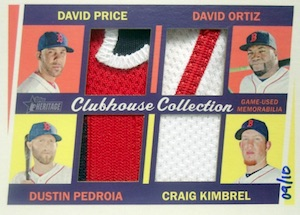 2016 Topps Heritage High Number Baseball Clubhouse Collection Quad Relics