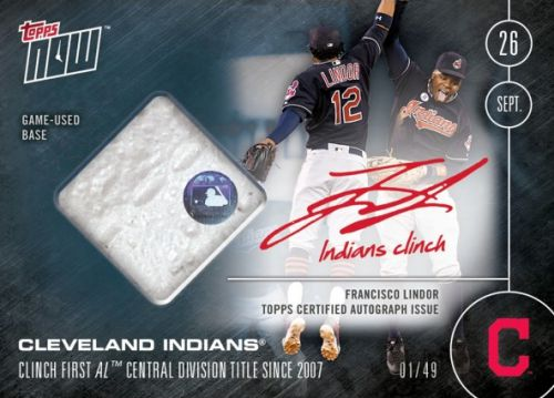 2016 Topps Now Baseball Cleveland Indians Autograph Relic Francisco Lindor