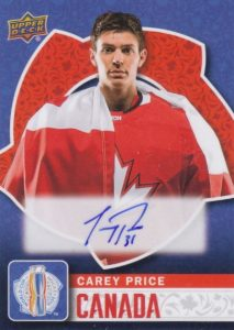 2016 Upper Deck World Cup of Hockey Autograph Carey Price