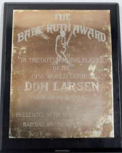 Steiner Sports Fall Classic Auction Don Larsen's 1956 Babe Ruth Award as MVP of the World Series