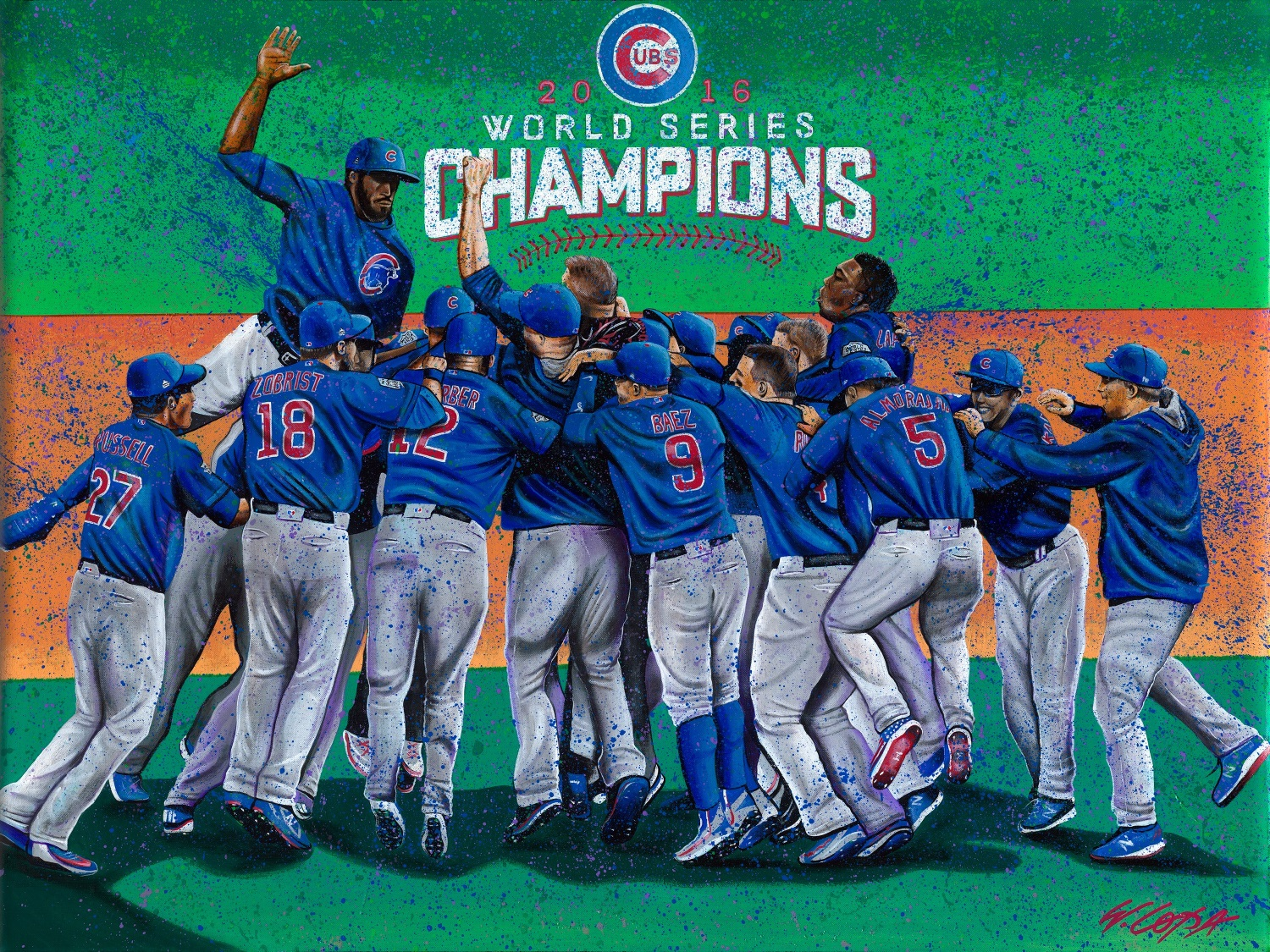 Press Release: Celebrate the Cubs World Series Championship with W. Lopa Studios Art 1