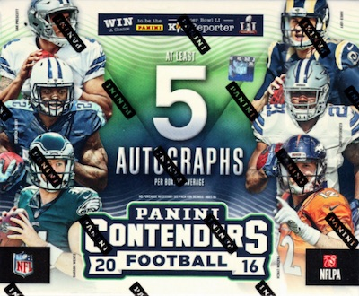 2016 Panini Contenders Football Cards - SP/SSP Print Runs Added 44