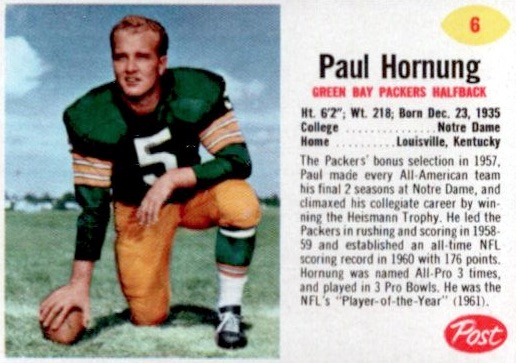 Top 10 Paul Hornung Football Cards 3