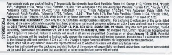 2017 Topps Fire Baseball Cards