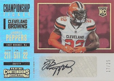 2017 Panini Contenders Football Cards - SP/SSP Rookie Ticket Print Runs Added 29