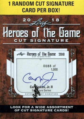 2018 Leaf Heroes of the Game Cut Signature Cards 3