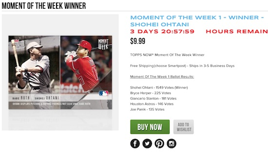 2018 Topps Now Moment of the Week Baseball Cards - Moment of the Year 2