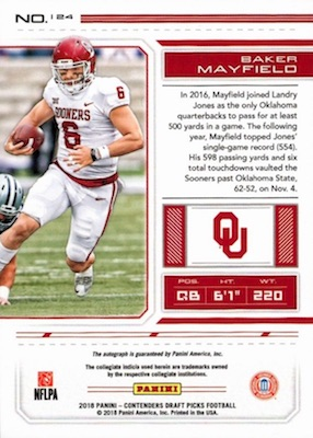 2018 Panini Contenders Draft Picks Football Variations Guide 13
