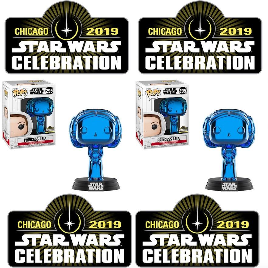 Star Wars Celebration Chicago 2019 EXCLUSIVE Funko Blue Chrome Stormtrooper #296