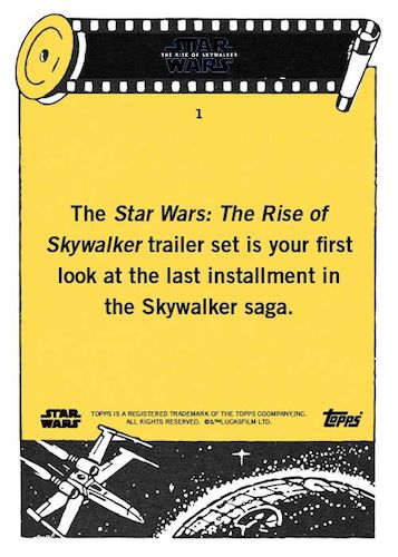 2019 Topps Star Wars Rise of Skywalker Trailer Trading Cards 2