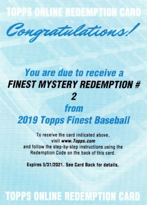 2019 Topps Finest Baseball Cards - Mystery Redemptions 26