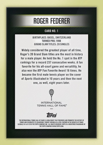 2019 Topps Tennis Hall of Fame Cards 2