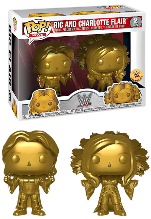 WWE Funko RIC FLAIR Charlotte GOLD 2 Pack Figure NUOVO