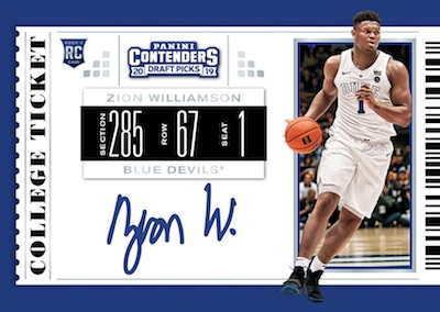 2019-20 Panini Contenders Draft Picks Basketball Cards - First Zion Williamson Autographs 3