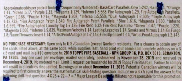 2019 Topps Fire Baseball Cards