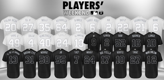 2019 Topps Now MLB Players Weekend Baseball Cards 1