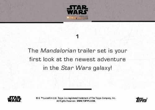 2019 Topps Star Wars The Mandalorian Trailer Trading Cards 2