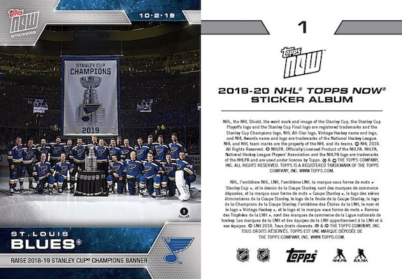 2019-20 Topps Now NHL Stickers Hockey Cards - Stanley Cup Champs 1