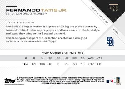 2019 Topps X Tatis Jr. 0.23 Baseball Cards 2