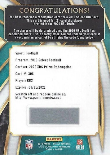 2019 Panini Select Football Cards - XRC Redemption Checklist Added 14