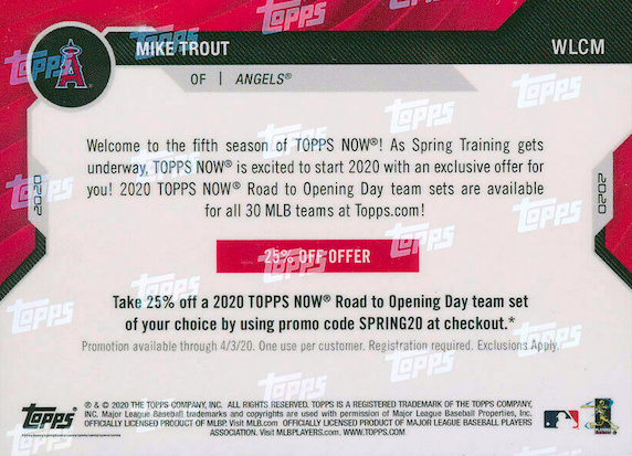2020 Topps Now Road to Opening Day Baseball Cards - Summer Camp Wave 3 Checklist 4
