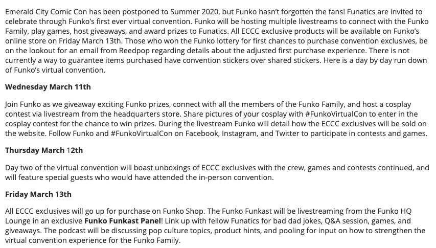 2020 Funko Emerald City Comic Con Exclusives Guide - Shared Figures 1